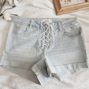 Pacsun Lace Up Rolled Cuff Stretchy Jean Shorts 30